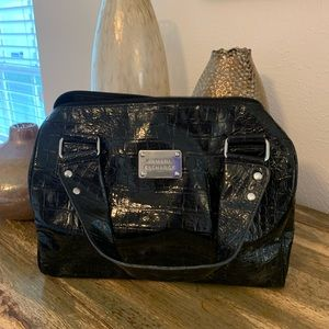 Armani Exchange Black Patent Satchel Bag